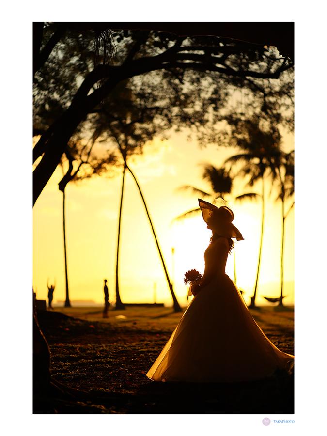 ハワイ サンセット撮影 帽子