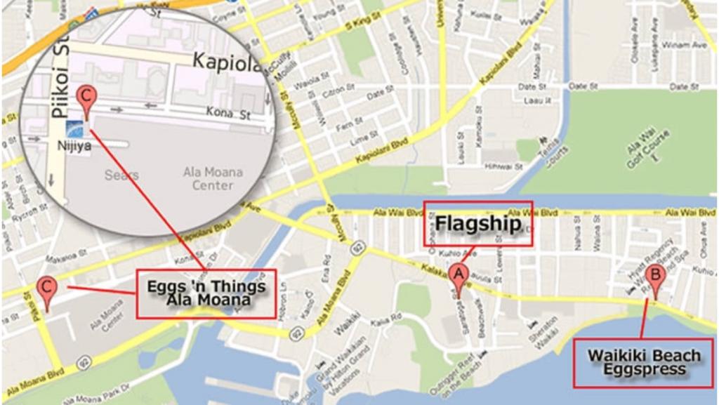 ハワイ エッグスンシングス 店舗地図