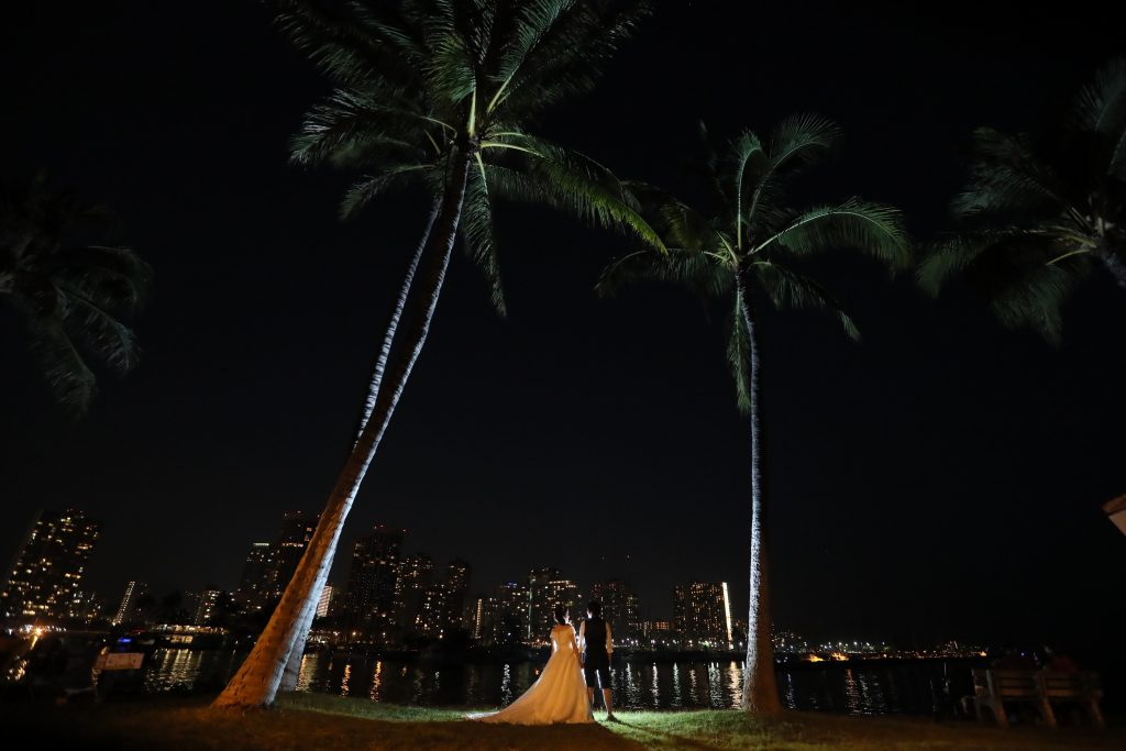 ハワイ 夜景 フォトウェディング オアフ島
