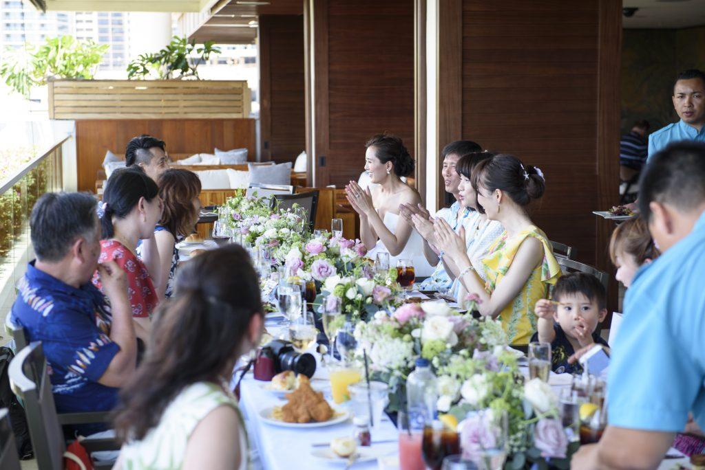 レセプションパーティー テーブルコーディネート ハワイ