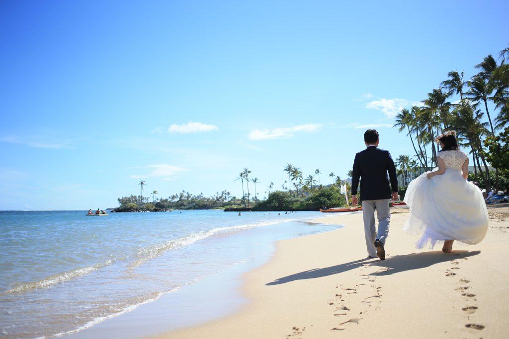 ハワイ フォトウェディング 撮影 カハラビーチ