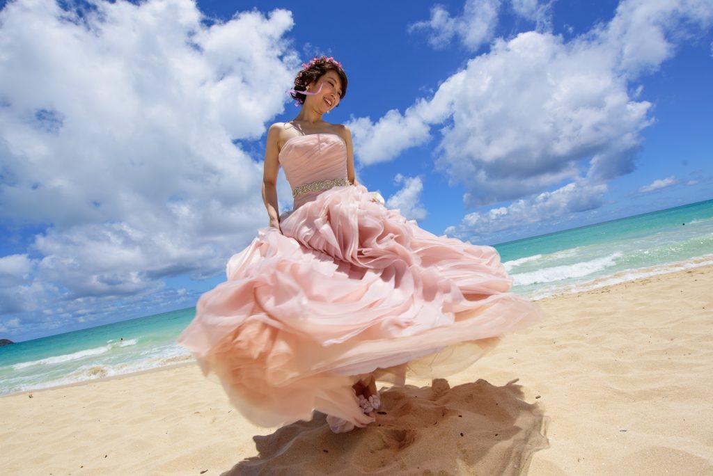 ドレス試着 カラードレス ピンク