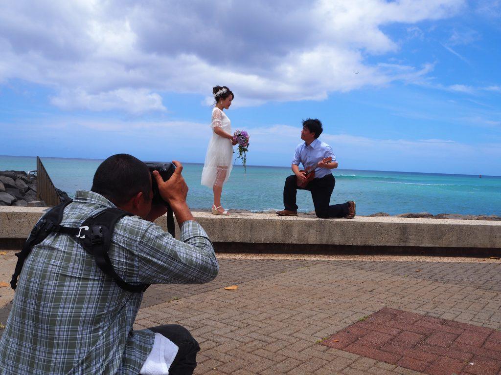 ハワイ カカアコウォーターフロントパーク 撮影風景