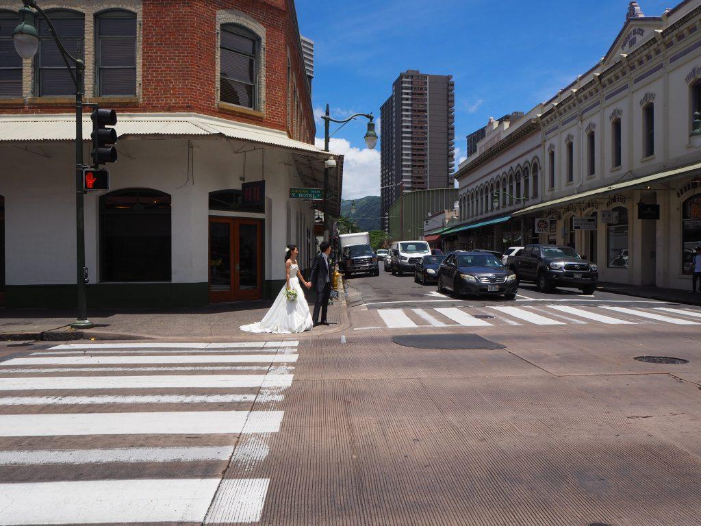 ハワイ ダウンタウン 横断歩道