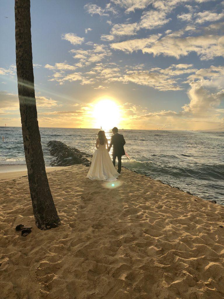 ハワイ  ウエディング フォト カピオラニ マリオット シェラトン ビーチ