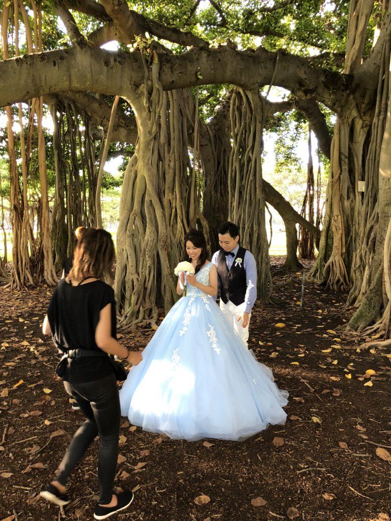 ハワイ ウエディング 色ドレス