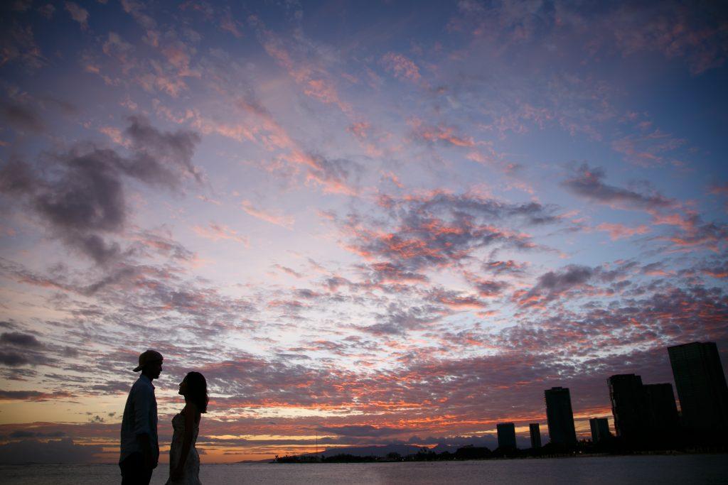 ハワイ サンセット撮影 パープル